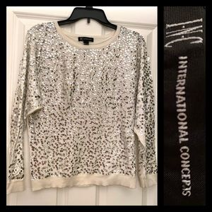 Inc sequin sweater size M